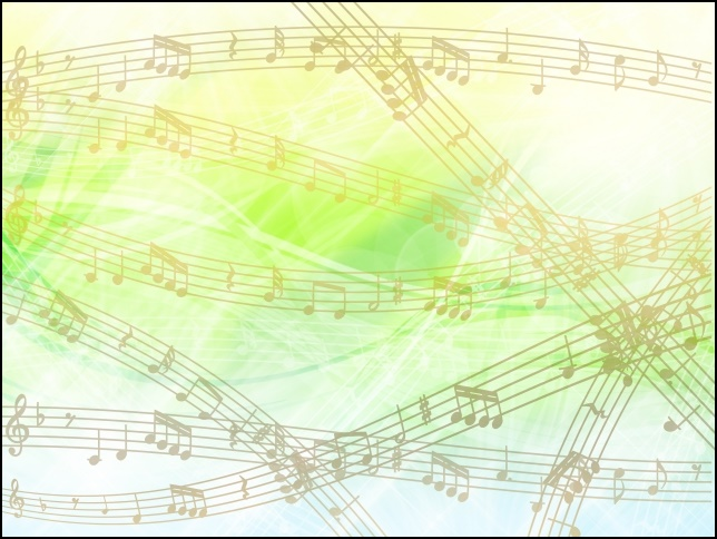 緑のカラフルな背景に音符を記載した画像