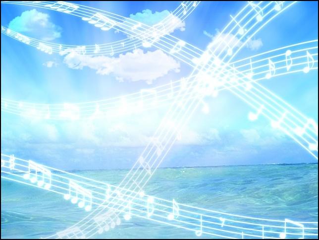 青い空と音符の画像