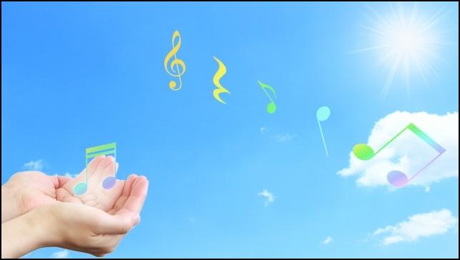 手のひらから空に飛んでいく音符の画像