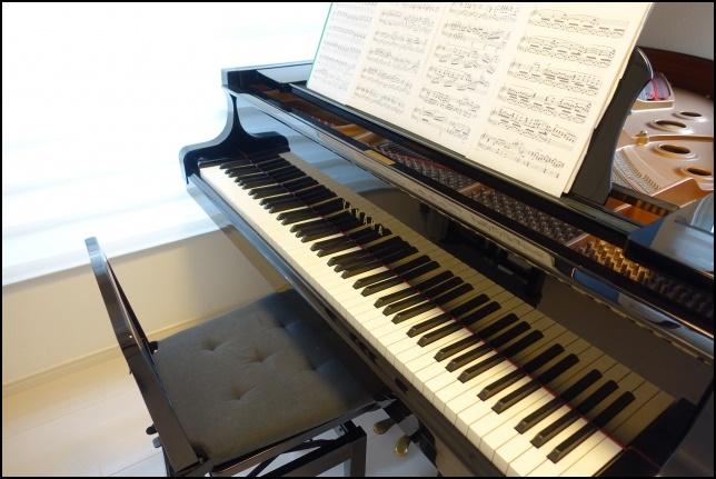 グランドピアノに楽譜を置いて弾く前の画像