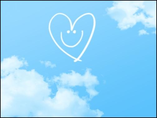 空とハートの画像