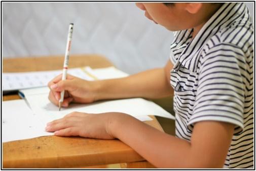 男の子が真剣に勉強している画像
