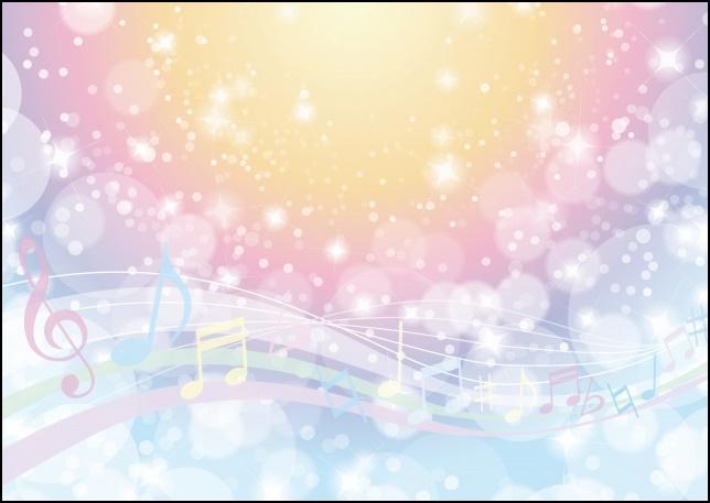 カラフルキラキラな背景に音符を記載した画像